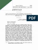 AULA INAUGURAL DA CADEIRA DE HISTÓRIA DA CIVILIZAÇÃO BIZANTINA. NO COLÉGIO DE FRANÇA