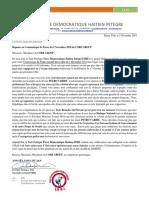 Réponse de Force Démocratique Haïtien Intégré-FDHI au Communiqué de Presse du 2 Novembre 2018 du CORE GROUP