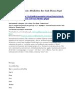 International Economics 16th Edition Test Bank Thomas Pugel