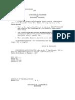 Affidavit of Transfer of Business