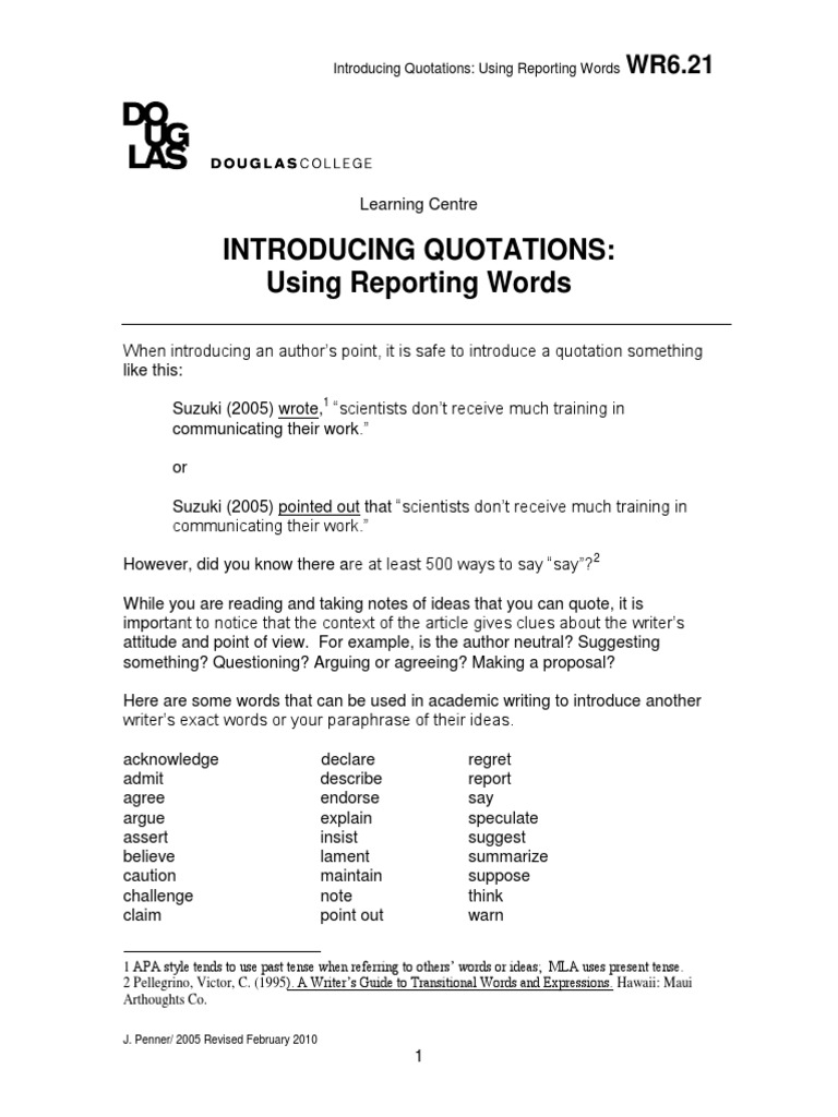 reporting words academic writing