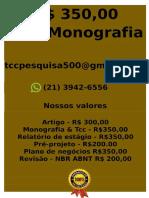 Inicial R$ 349,99 POR qualquer  TCC OU MONOGRAFIA WHATSAPP (21)974111465    (88)-- (cópia)