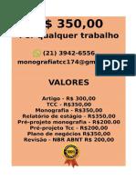 Por somente  R$ 349,99 POR qualquer  TCC OU MONOGRAFIA WHATSAPP (21)974111465    (57)--