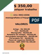 Por somente  R$ 349,99 POR qualquer  TCC OU MONOGRAFIA WHATSAPP (21)974111465    (62)--