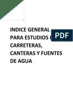 Indice General Para Estudios de Carreteras