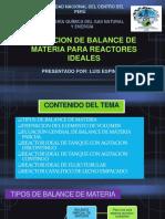 Ecuacion de Balance de Materia Para Reactores Ideales