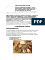 Componentes del concreto y clasificación de los agregados.