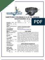 Hartford Colonials Game Notes Week 5