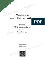 Mecaniques Des Milieux Continus, Tome 3 Milieux Curvilignes