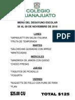 Menu Del 05 Al 09 de Nov 2018