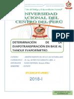 Determinacion de La Evapotranspiracion en Base Al Tanque Evaporimetro