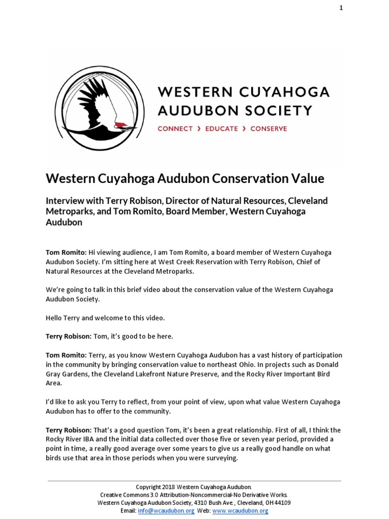 20d3df54b52 Western Cuyahoga Audubon Conservation Value | Natural Environment | Ecology