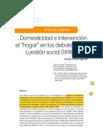 Domesticidad e Intervención, El Hogar en Los Debates de La Cuestión Social (1890-1940)