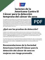 Recomendaciones de La Sociedad Americana Contra El Cáncer Para La Detección Temprana Del Cáncer de Seno