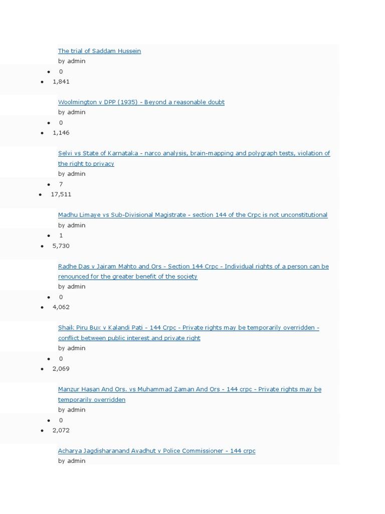 Case List of CrPC | Violence