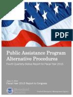 FEMA - Public Assistance Program Alternative Procedures - Q4 Status Report