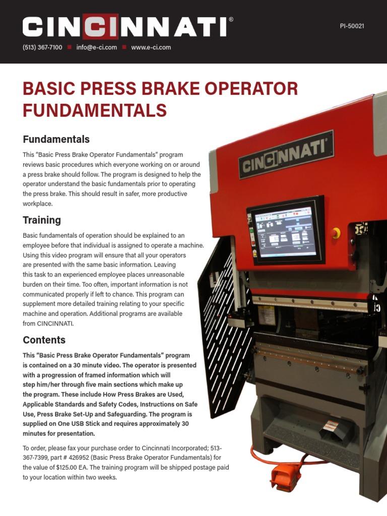 Basic Press Brake Operator Fundamentals   Technology   Business