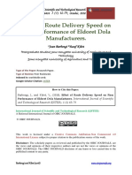 Effect of Route Delivery Speed on Firm Performance of Eldoret Dola Manufacturers