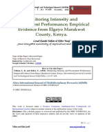 Monitoring Intensity and Procurement Performance. Emprical Evidence From Elgeyo Marakwet County, Kenya.