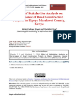 Effect of Stakeholder Analysis on Performance of Road Construction Projects in Elgeyo Marakwet County