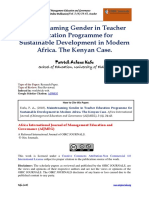 Mainstreaming Gender in Teacher Education Programme for Sustainable Development in Modern Africa. the Kenyan Case.