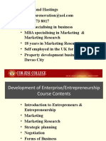 Development of Enterprise Entrepreneurship Introduction
