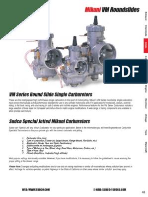 Mikuni VM Roundslide Parts Diagram | Carburetor | Motorcycle