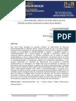 INTERDISCIPLINARIDADE, ARTE E CULTURA POPULAR NAS POLÍTICAS EDUCACIONAIS DA EDUCAÇÃO BÁSICA