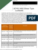 Alloy Steel (8740) NAS Shear Type Lockbolts _ Arconic