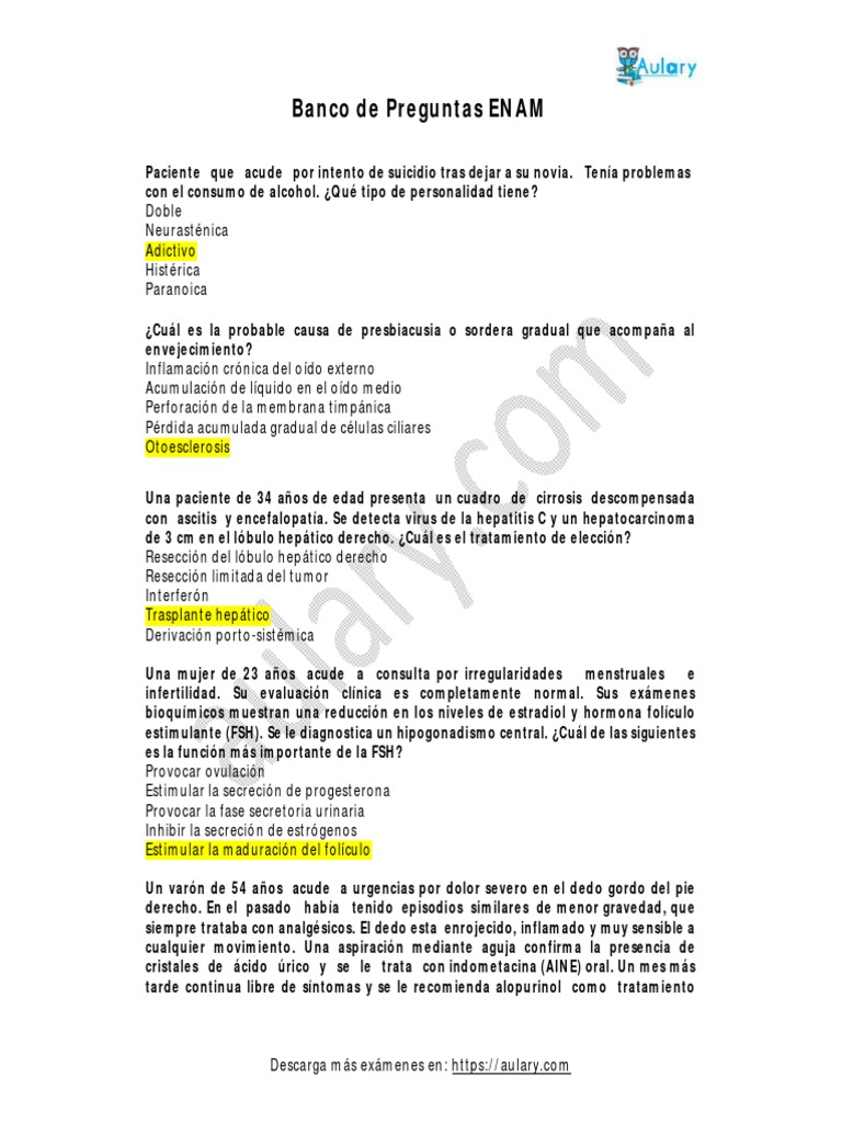 Banco De Preguntas Enam Examen Nacional De Medicina Septicemia Parto