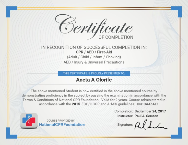 cpr certificate completion document