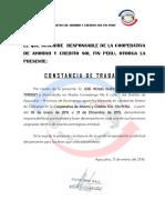 Constancia Sol Fin Peru