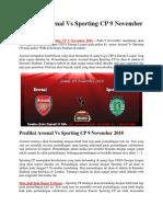 Prediksi Arsenal vs Sporting CP 9 November 2018