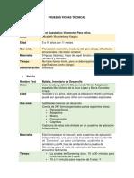 Fichas Técnias de Pruebas Psicopedagógicas