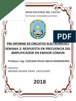 Pre Informe Rpt. en Frec. Del Amp. en Emisor Comun Electronicos 1