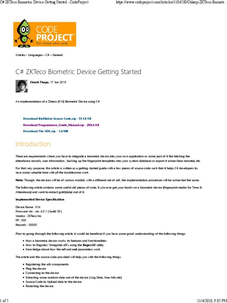 Interface With ZKTeco | Integer (Ilmu Komputer) | Biometrik