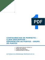 CONFIGURACION DE PRO YECTO – CLAVE DESCRIPTIVA – EXPORTACIÒN DE PUNTOS – GRUPO DE PUNTOS