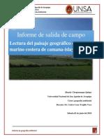 Informe de salida de campo  Lectura del paisaje geográfico de la zona marino costera de camana-islay