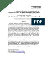 Análisis de La Situación Regional de La Educación Media en Colombia 2009, 2010. Una Visión Con Análisis Factorial Múltiple
