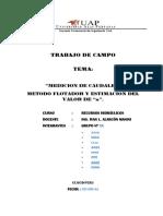 Formato de Presentacion Trabajo de Campo Medicion de Caudal[1]