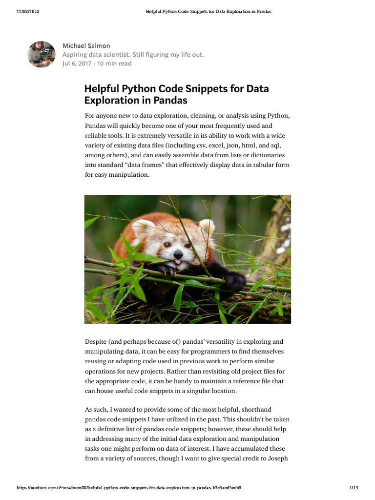 Helpful Python Code Snippets for Data Exploration in Pandas