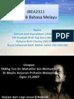 unsur retorik dan teknik retorik yang digunakan dalam ucapan Dr mahathir