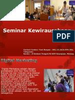 Seminar Kewirausahaan Digital Marketing, Fast Respon Call / WA