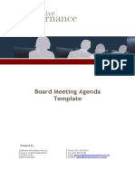 Sample Board Meeting Agenda Template in Word Doc