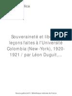 Souveraineté Et Liberté Leçons / Duguit, Léon