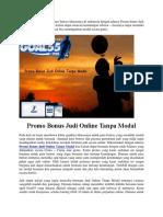 Promo Bonus Judi Online Tanpa Modal