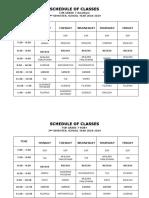 Class Schedule - 2nd Semester Academic Year '18-'19