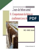 Cours de béton armé 8 _ Comportement du béton en cisaillement (avec étriers) BAC3 - HEMES -Gramme.pdf