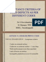 258018927 Acceptance Criteria of Weld Defects as Per Different Codes