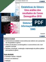Estatísticas de Gênero Uma Análise Dos Resultados Do Censo Demográfico 2010.